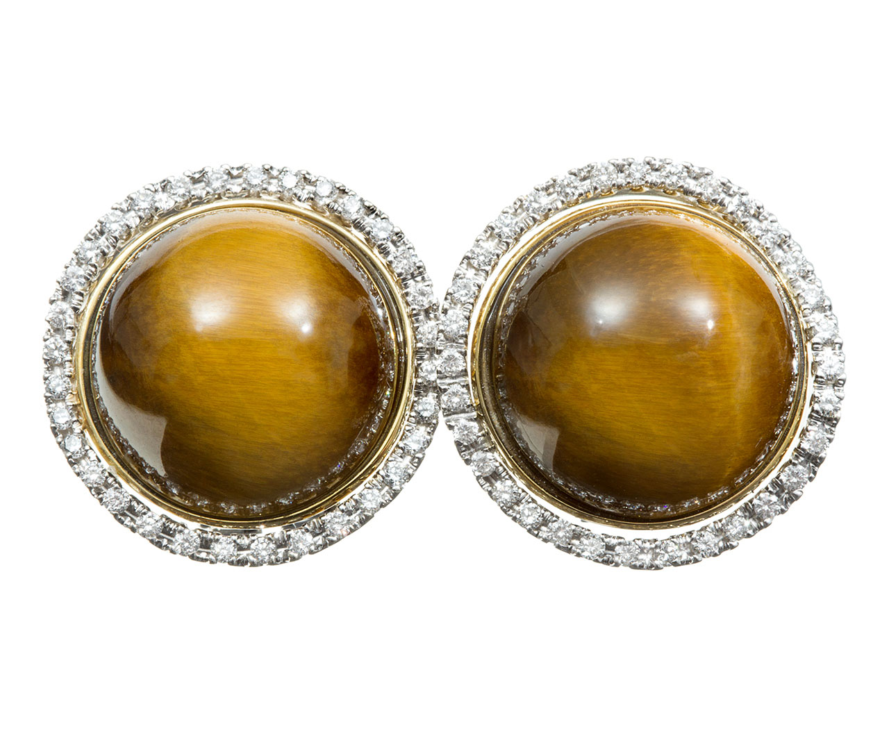 Cabachon Tigers Eye And Diamond Earrings By Roberto Coin