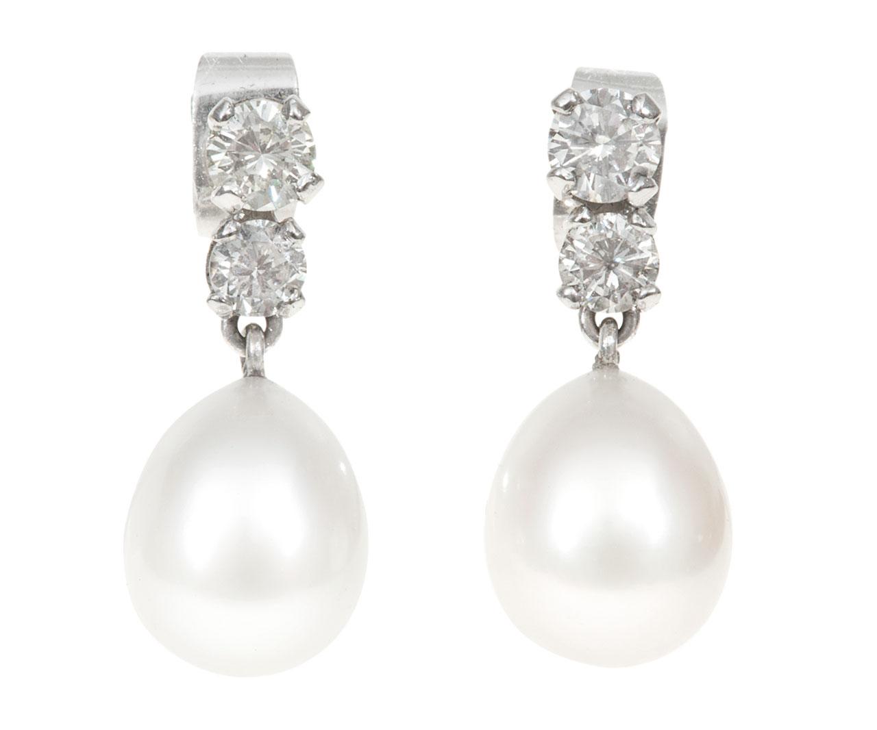 Diamond Pearl Drop Earrings Vaughan Antiques